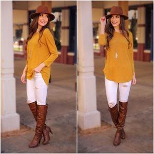 Mustard Hacci Knit Tunic